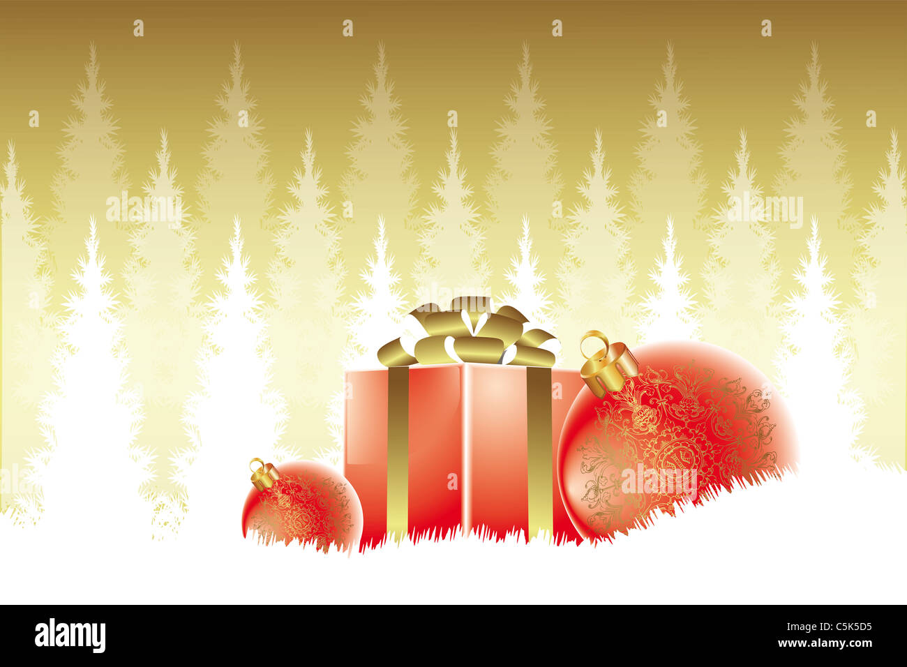White christmas tree with red and gold decorations - Beautiful Christmas Card With Baubles In Red And Gold Decoration Combined White Christmas Trees On Golden Background