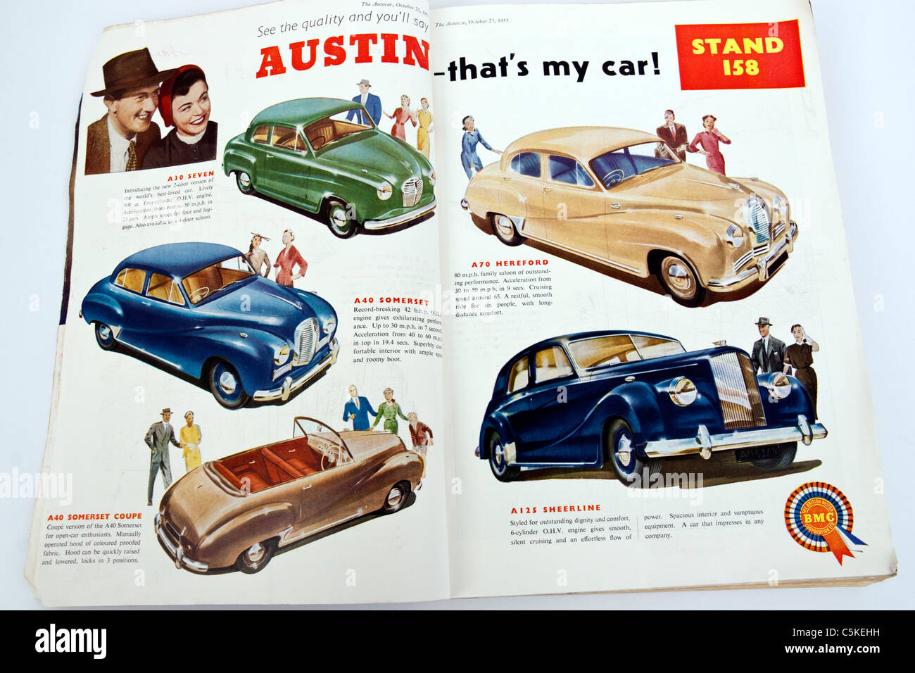 Illustration of 1953 Austin classic cars from \