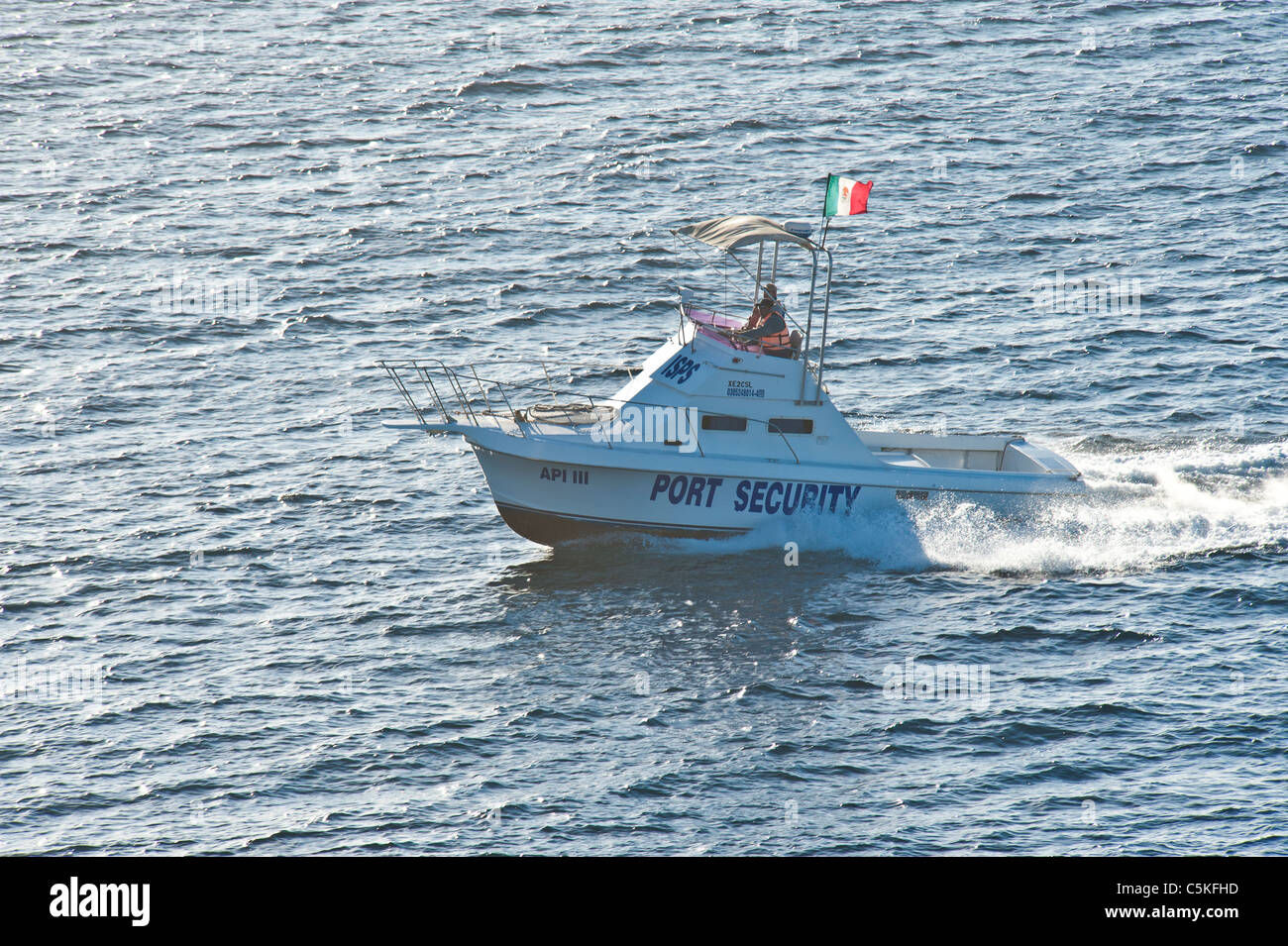 Port Security Boat Near Our Cruise Ship Mexico Stock Photo - Is there security on cruise ships