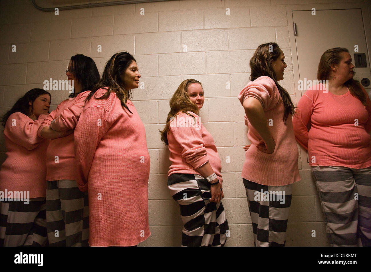 Female inmates wait to be searched for contraband after chain gang duty at Estrella Jail in Phoenix Arizona  sc 1 st  Alamy & Female inmates wait to be searched for contraband after chain gang ...