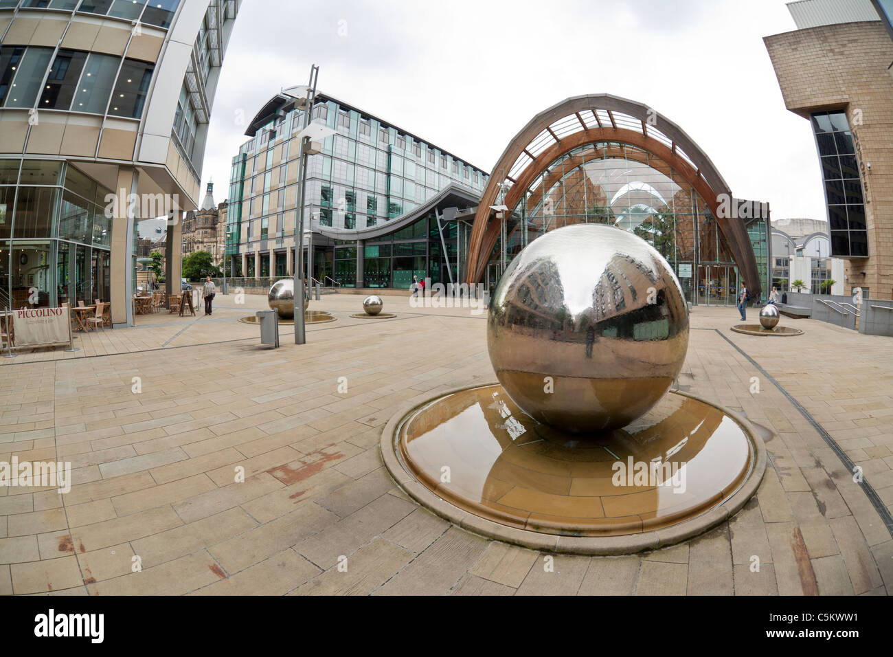 St Paul 39 S Place Sheffield City Centre With The Winter Gardens Stock Photo Royalty Free Image