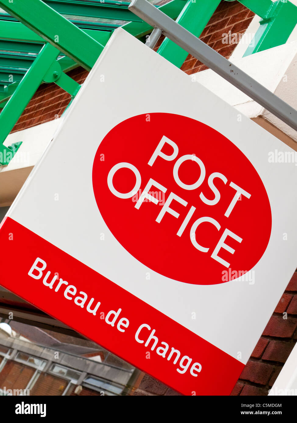 sign outside a post office and bureau de change in