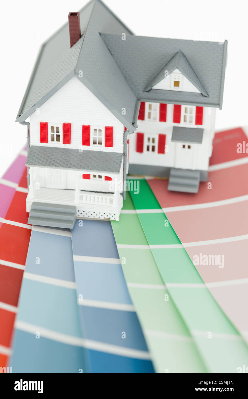 Close up of a maniature house and a color chart stock photo close up of a maniature house and a color chart nvjuhfo Gallery