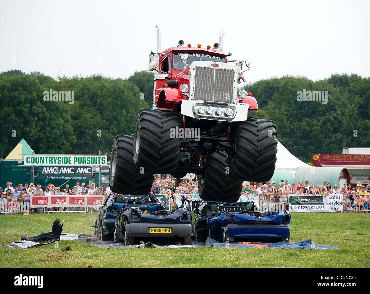 Monster Truck Crushing Cars Nantwich Show Uk Stock Photo