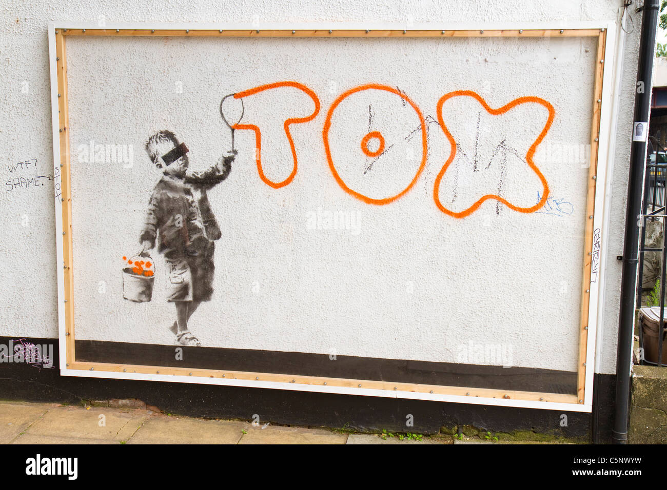 Graffiti Art By Street Artist Banksy Which Mentions Another Graffiti  Writer, Tox, On A