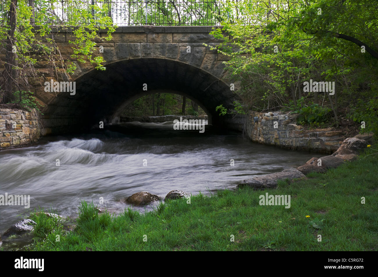Minnehaha Park aqueduct in minnehaha park of minneapolis minnesota with waters of