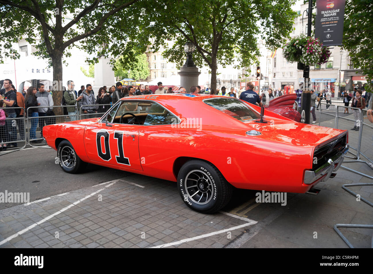 london uk general lee car from the dukes of hazzard tv series and movie in trafalgar square