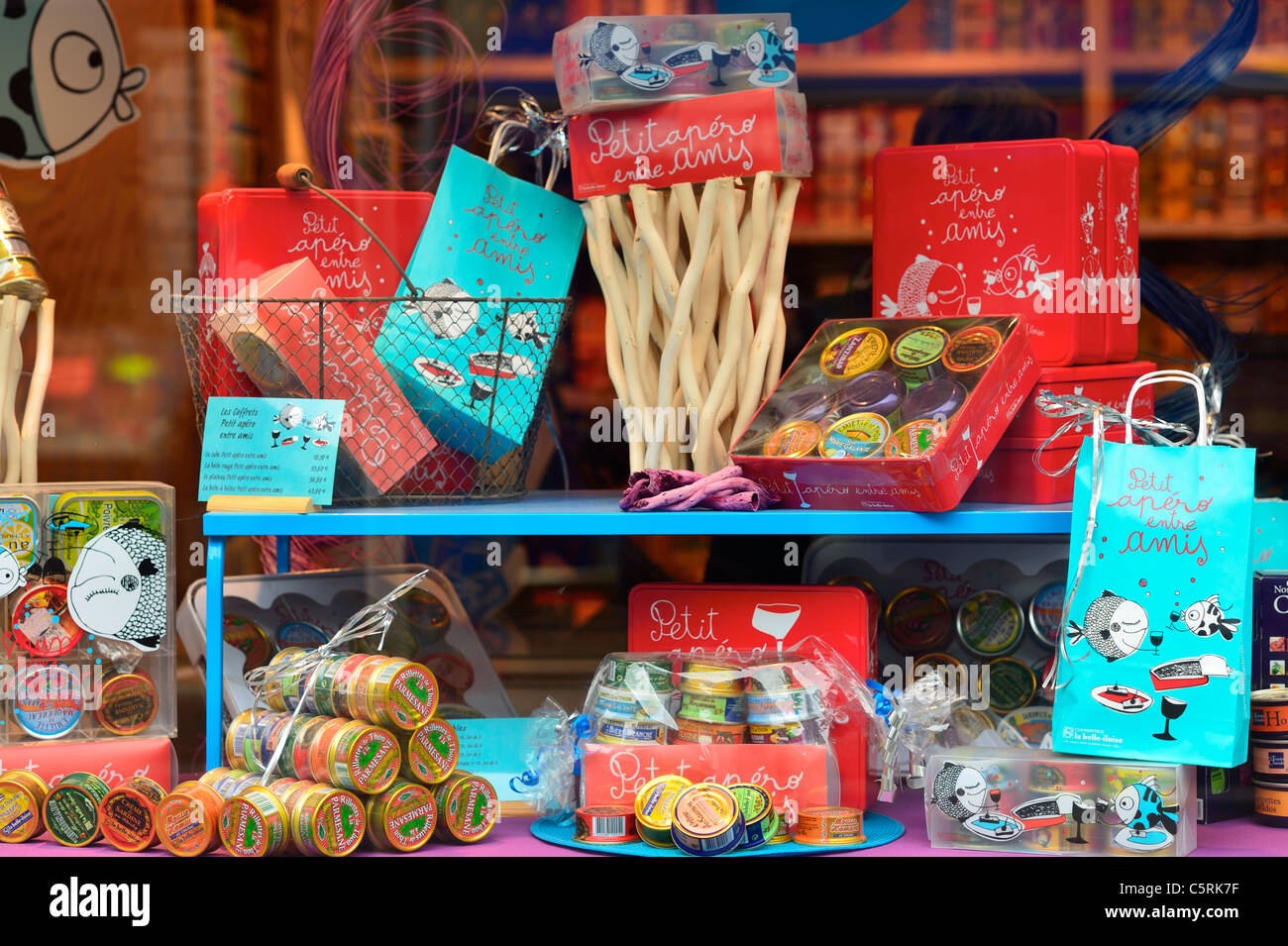 Shop window front with French snacks for entrées, Brittany France ...