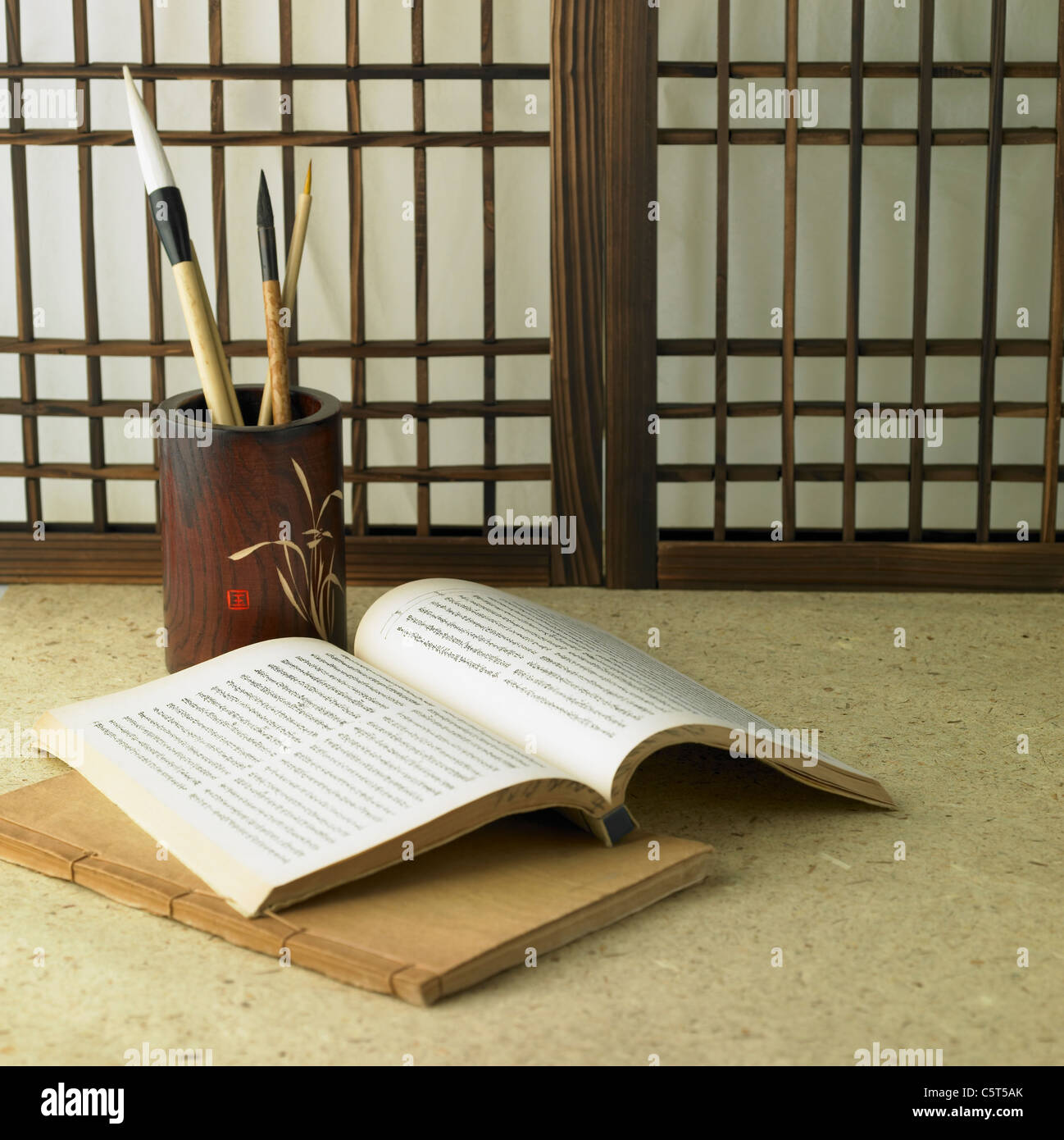 Korean traditional paper door brushes and books  sc 1 st  Alamy & Korean traditional paper door brushes and books Stock Photo ...