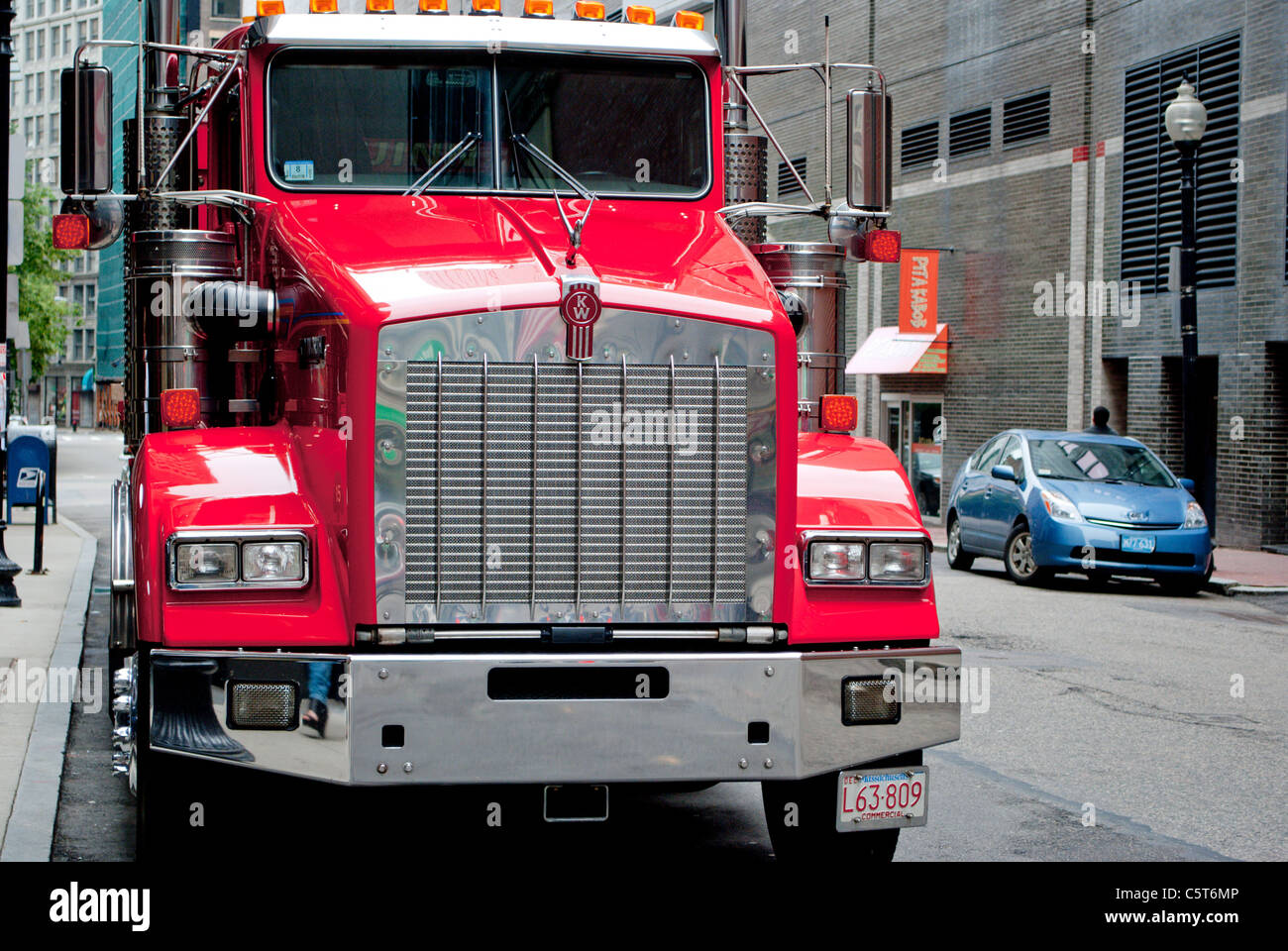Big red truck on the city street