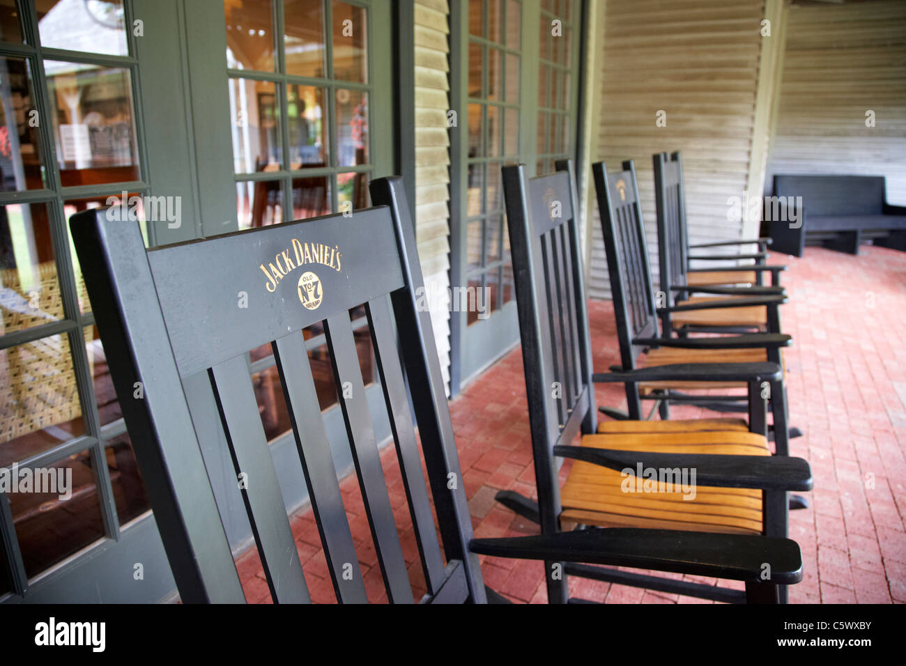 Row Of Rocking Chairs At Jack Daniels Distillery Visitors Center Lynchburg Tennessee Usa