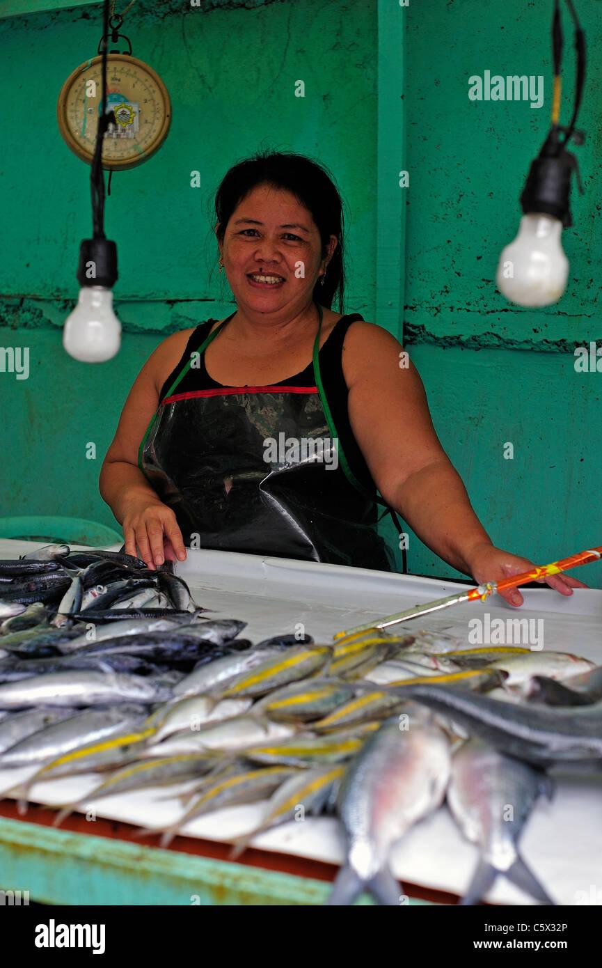 Filipina Sales Lady Fish Stall Cebu Philippines Stock Photo, Royalty ...