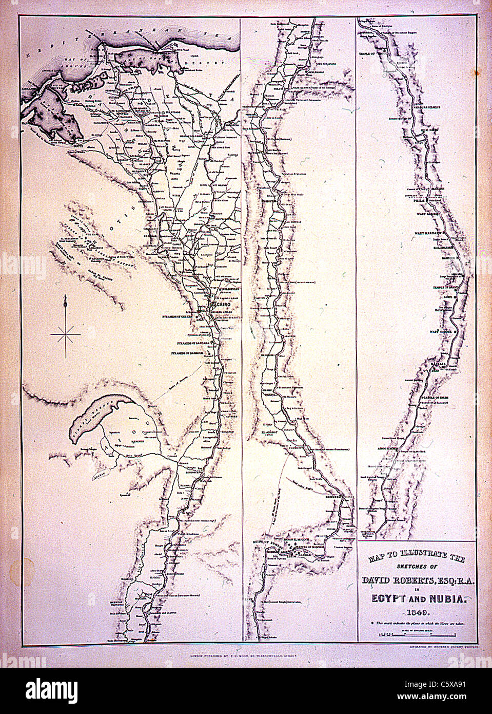 Map To Illustrate The Sketches Of Egypt And Nubia Obelisk - Map of egypt heliopolis