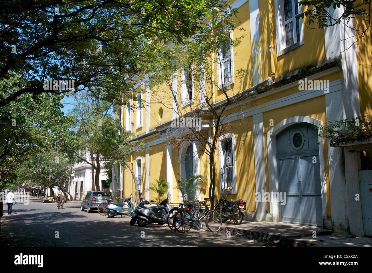 Typical Architecture In French Quarter Pondicherry Tamil Nadu South Stock Pho
