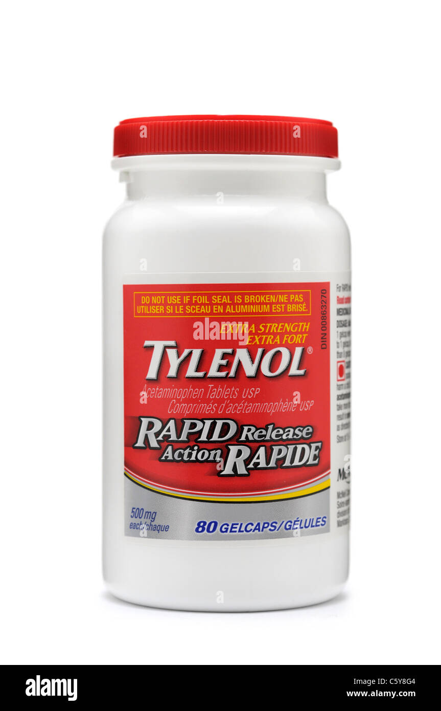 Tylenol Bottle Of Acetaminophen Tablets Stock Photo