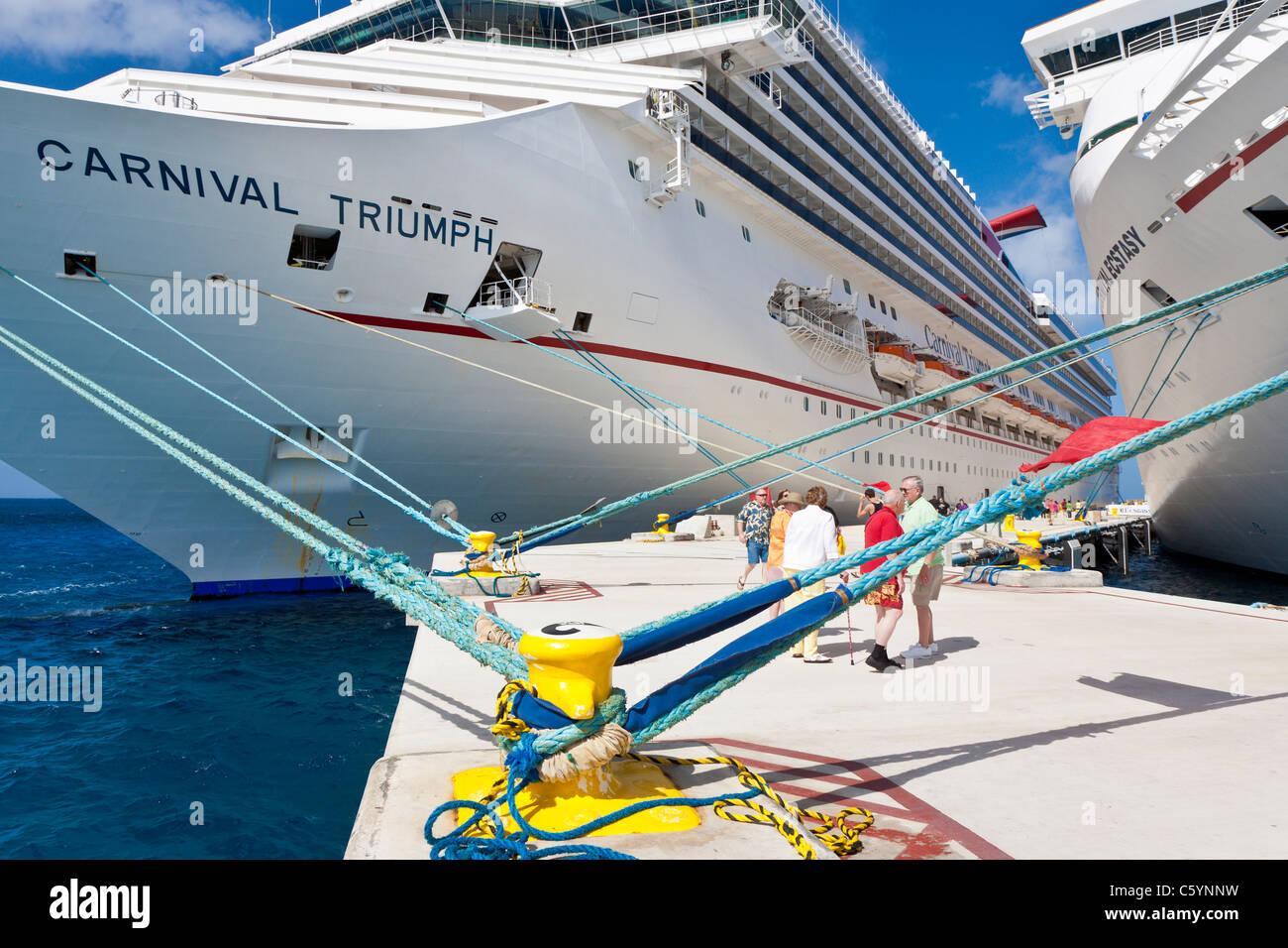 Cruise Ship Passengers On Pier Near Carnival Cruise Ships Triumph - Cozumel cruise ship schedule