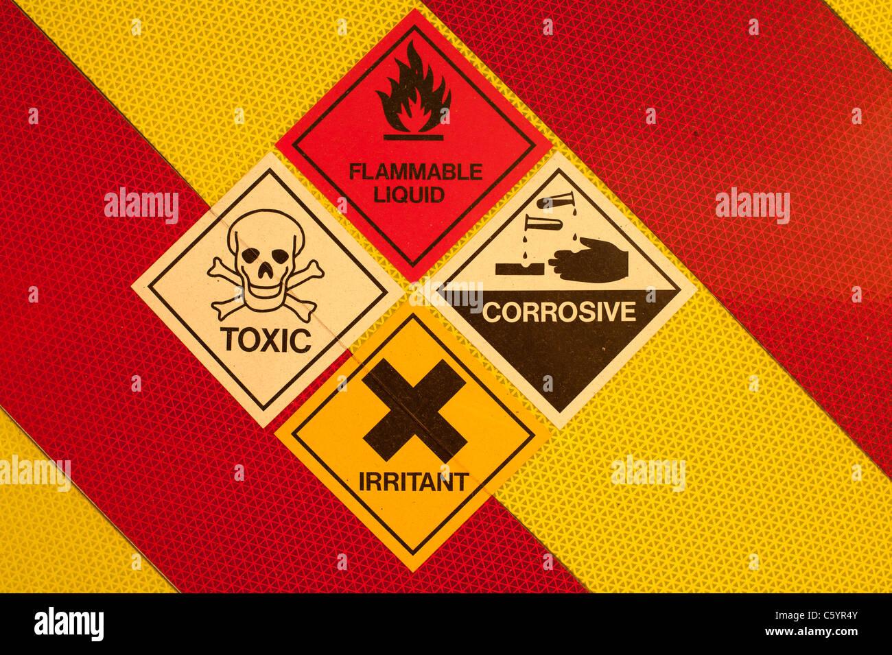 A set of danger flammable liquid toxic corrosive irritant a set of danger flammable liquid toxic corrosive irritant chemicals and liquids warning symbols on red and yellow uk buycottarizona
