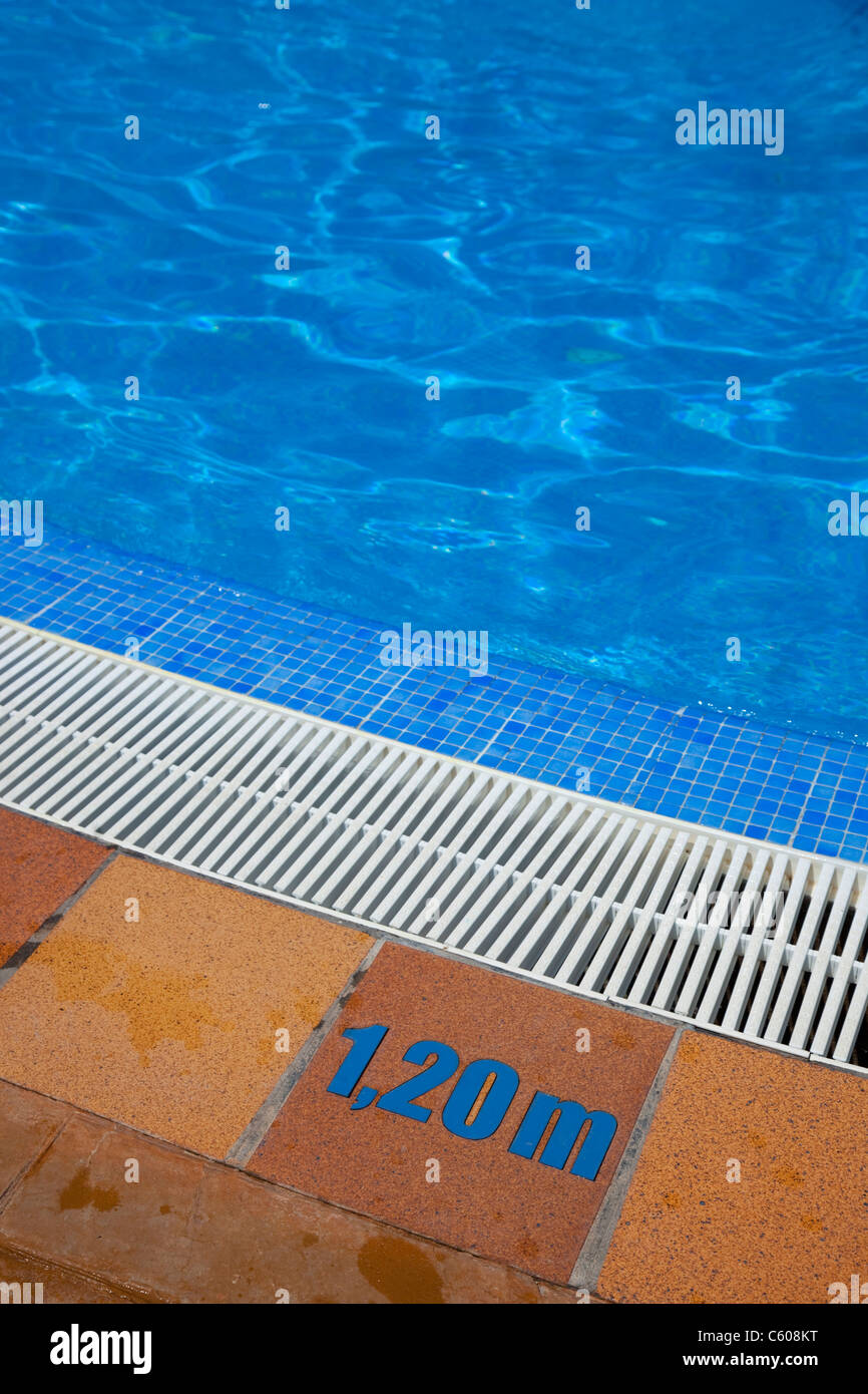 Depth Sign At The Edge Of A Swimming Pool Stock Photo Royalty Free Image 38115500 Alamy