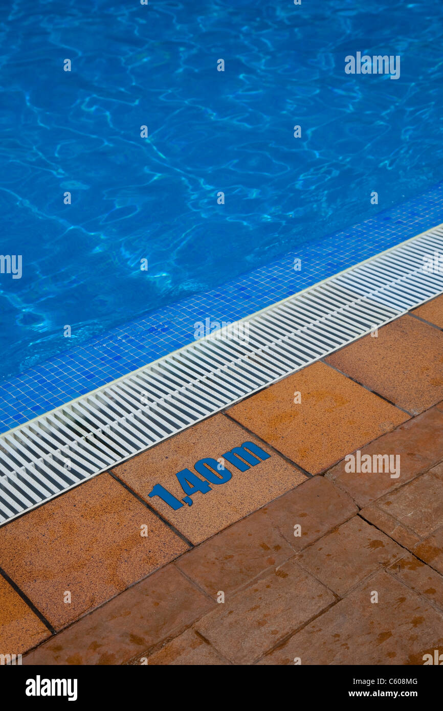 Depth Sign At The Edge Of A Swimming Pool Stock