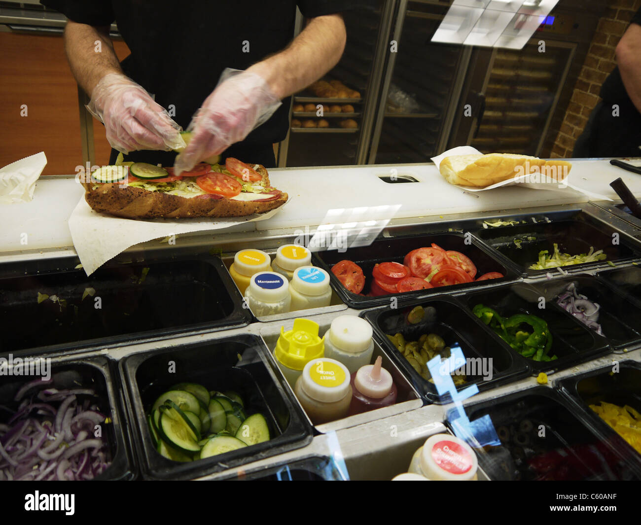 Fast Food Making A Sandwich At Subway Stock Photo