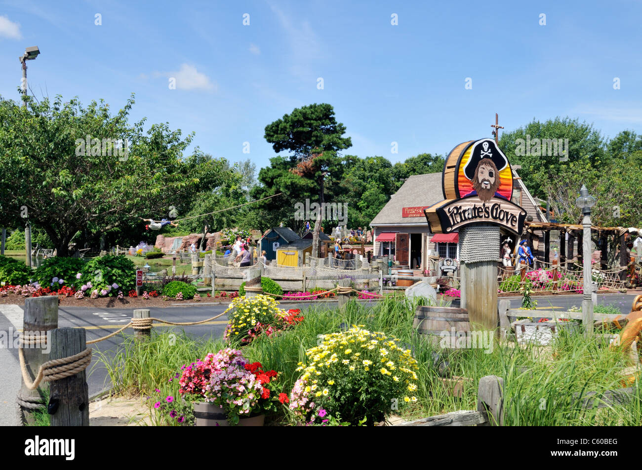 awesome cove cape cod #5: Entrance to Pirates Cove miniature golf course on a sunny clear summer day,  Yarmouth, Cape Cod. USA