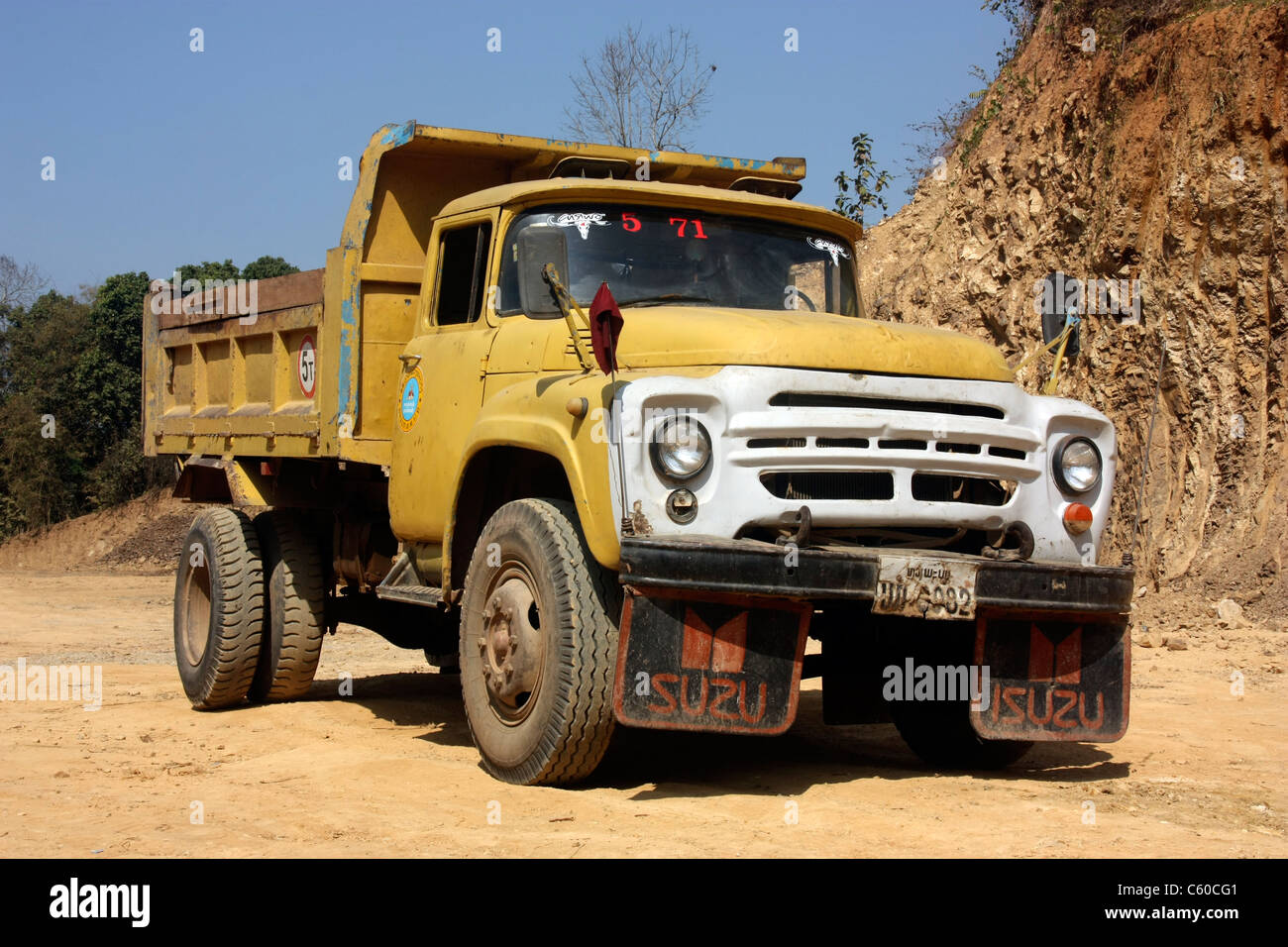 Russian 1960s manufactured zil 130 dump truck at a quarry in northern laos