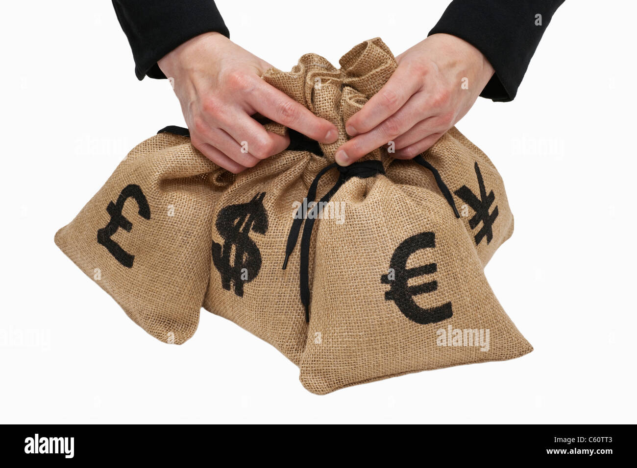 Pound signs cut out stock images pictures alamy four money bags with euro yen pound and dollar signs are hand held biocorpaavc Gallery
