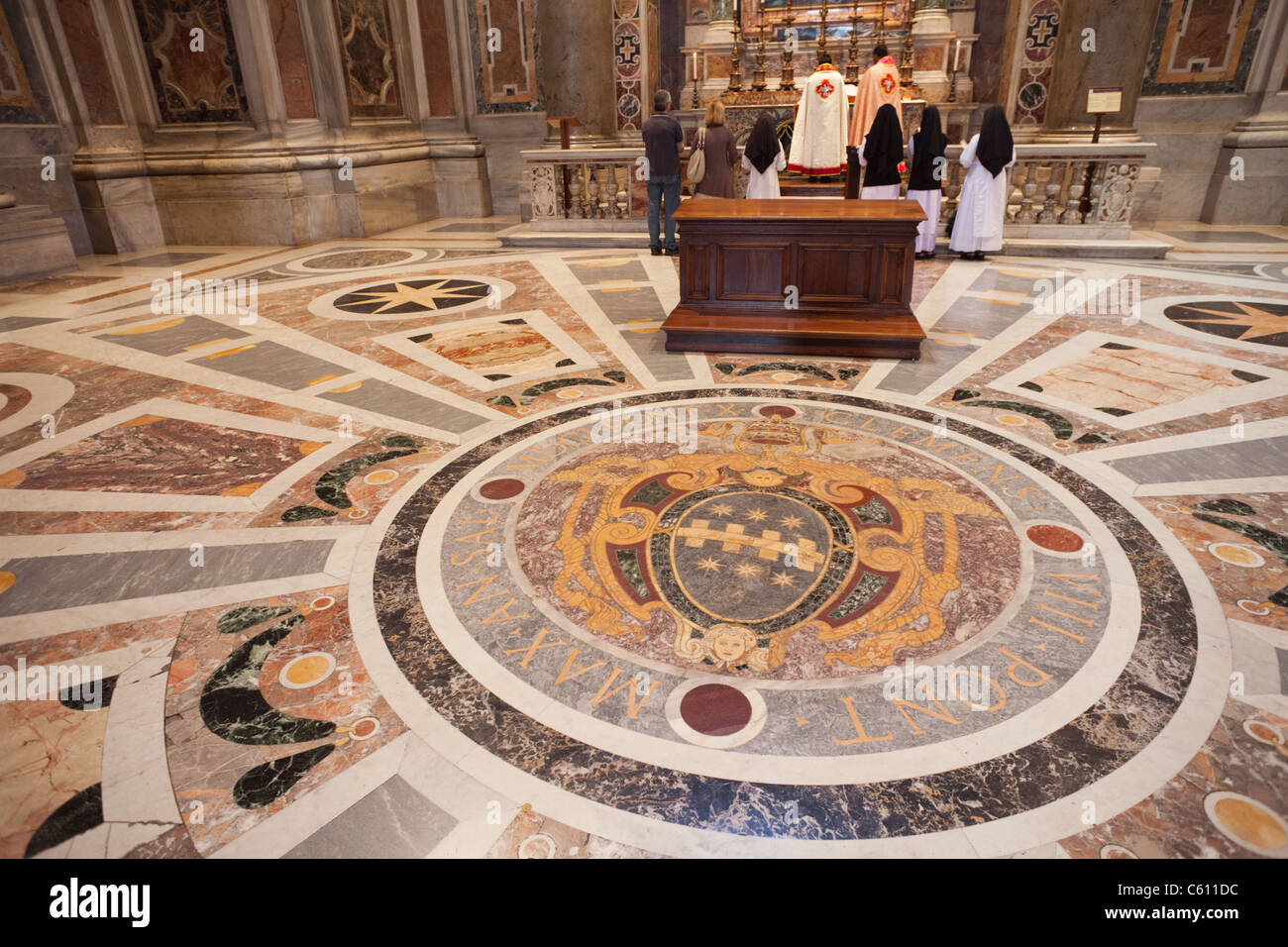 Italy Rome The Vatican Interior Of St Peters Detail Of
