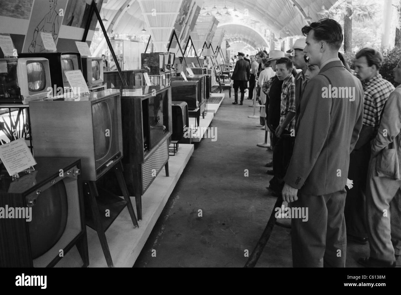 Russians looking at television sets at the American National Stock ...