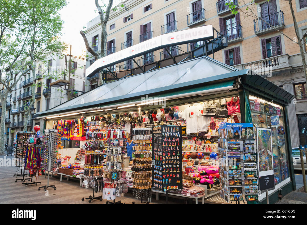 spain barcelona las ramblas souvenir kiosk stock photo royalty free image 38143548 alamy. Black Bedroom Furniture Sets. Home Design Ideas
