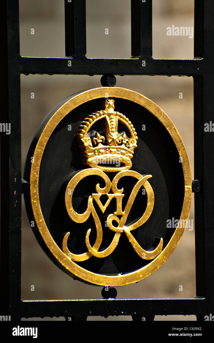 royal crown symbol on gates at tower of london for george