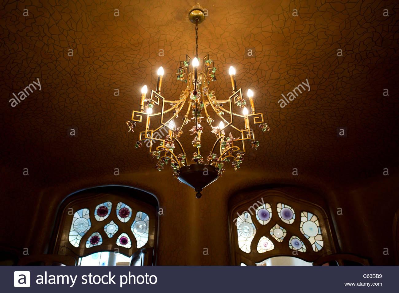 Chandelier in Casa Batllo by Antoni Gaudi Stock Photo