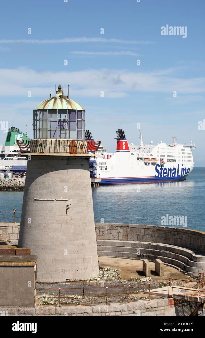 Holyhead Lighthouse, Anglesey Wales Stock Photo, Royalty