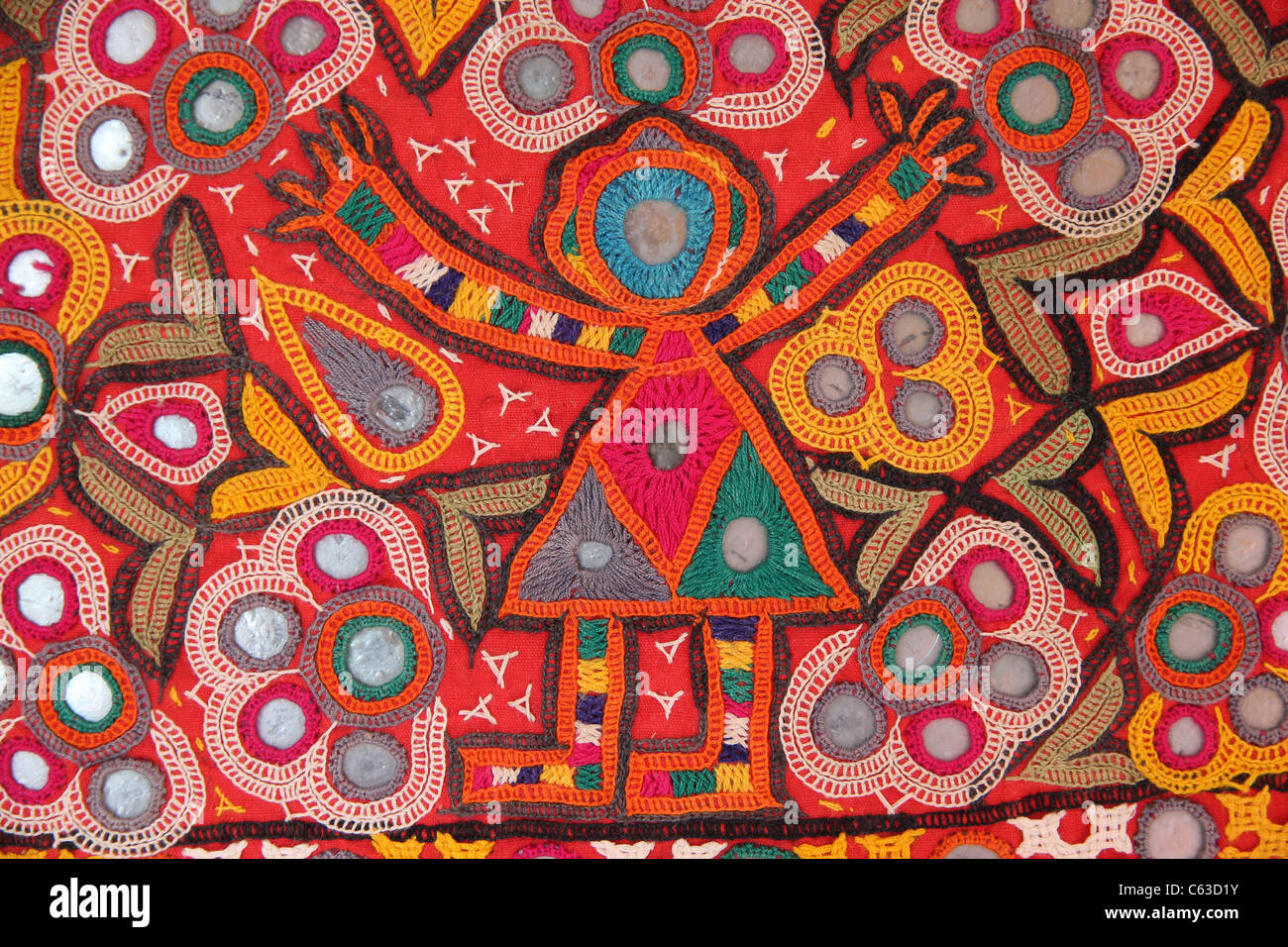 Female Figure In Indian Embroidery Part Of A Gujarati Toran From Stock Photo Royalty Free ...