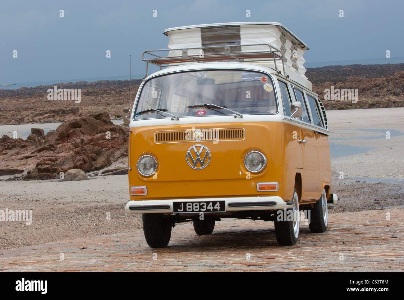 VW Volkswagen Bay Window Devon Camper Van Classic Air Cooled Rear Engined Pop Up Roof Raised Beach Orange White