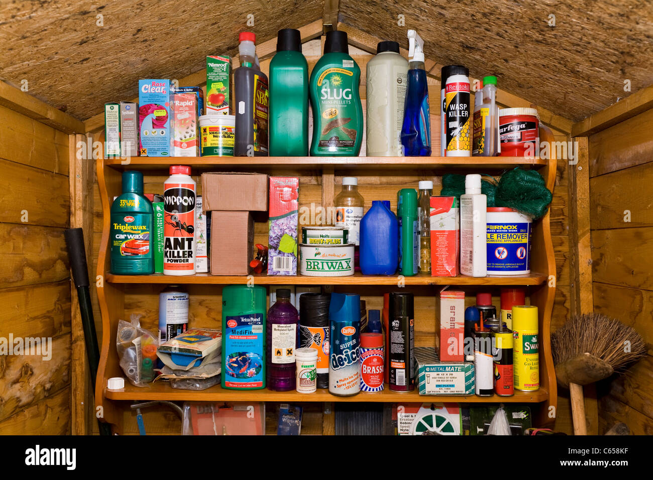 Shelf / Shelves Holding Large Range / Variety Of Garden / Gardening  Chemicals, Tins U0026 Household Products In A Garden Shed.
