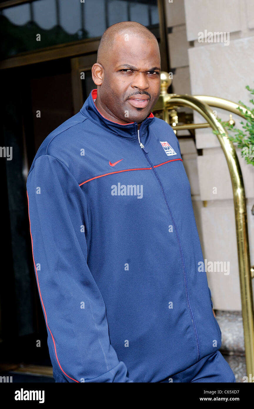 Nate McMillan leaves his Midtown Manhattan hotel out and about