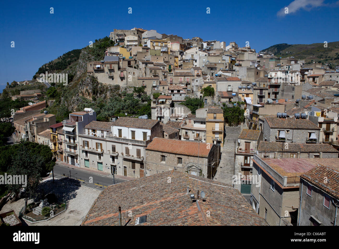 typical village in the center of sicily (italian medieval and