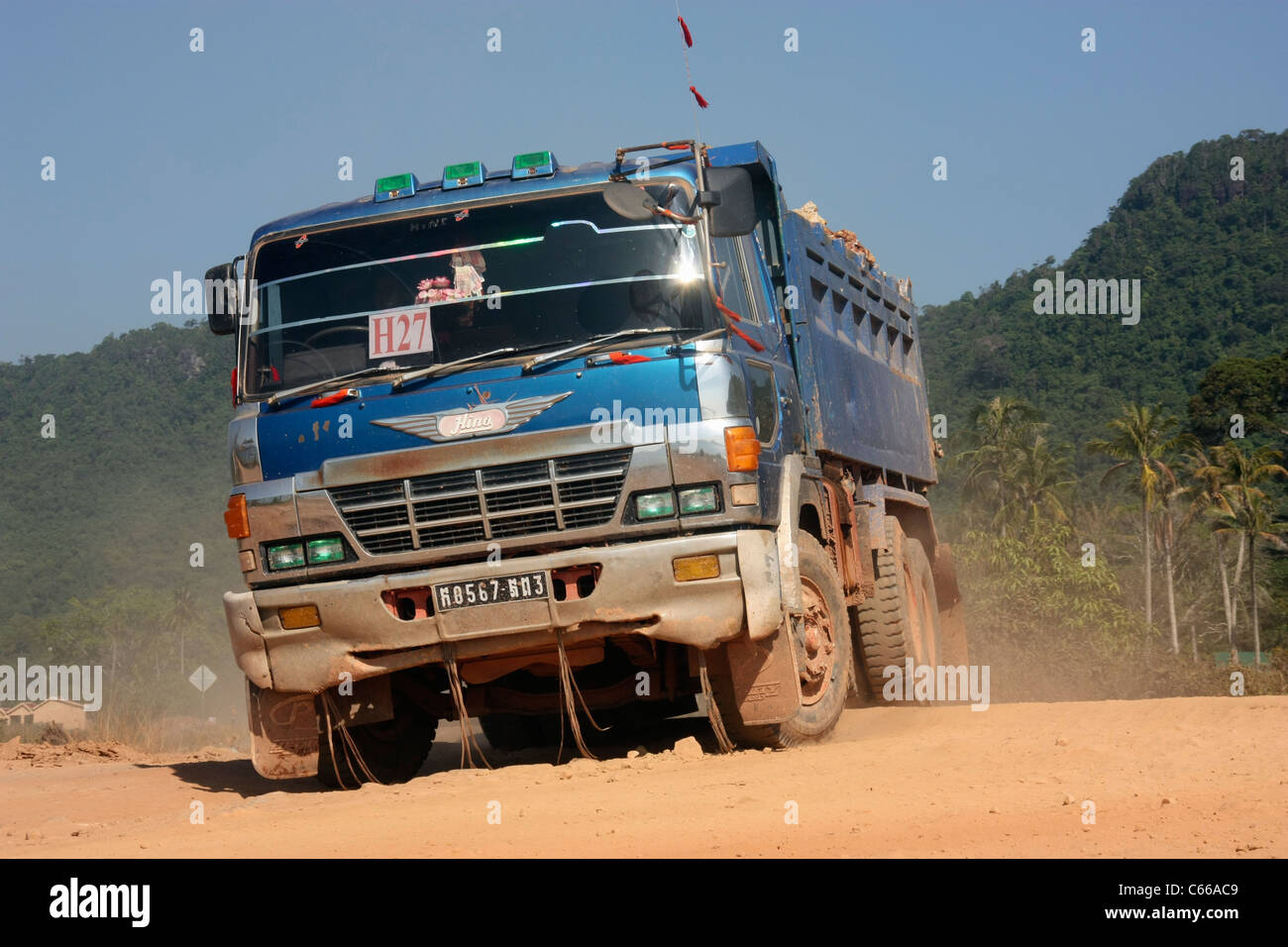 japanese manufactured hino fs66 dump truck transporting rock
