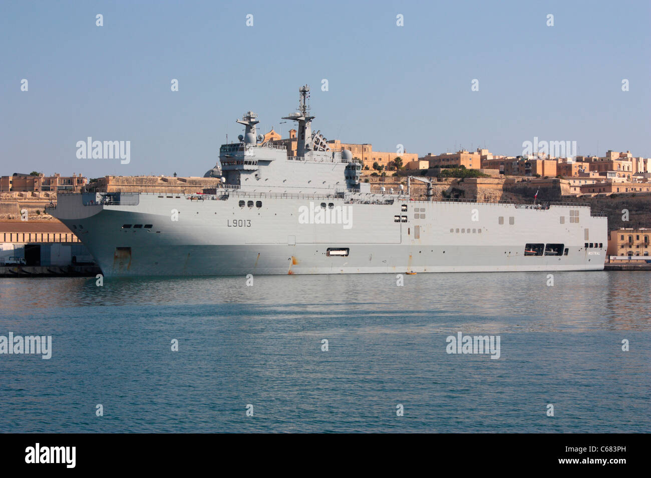 the french navy assault ship mistral in malta during a break from operations off libya