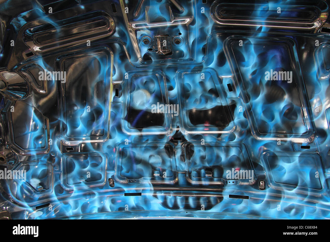 Skull fire stock photos skull fire stock images alamy human skull airbrushed image in blue fire under car bonnet at show stock image buycottarizona