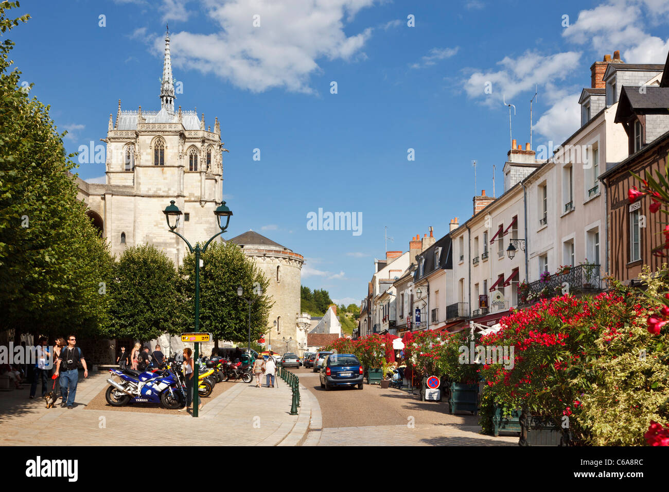 amboise loire valley street scene with chateau amboise indre et stock photo royalty free. Black Bedroom Furniture Sets. Home Design Ideas