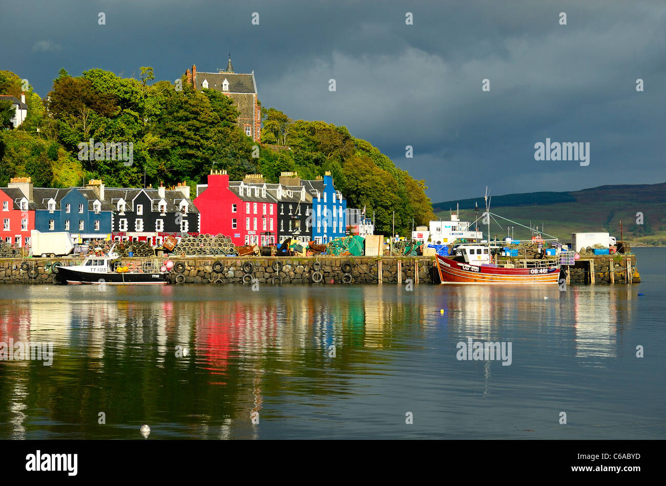 Tobermory Harbour With Its Pastel Coloured Houses Isle Of