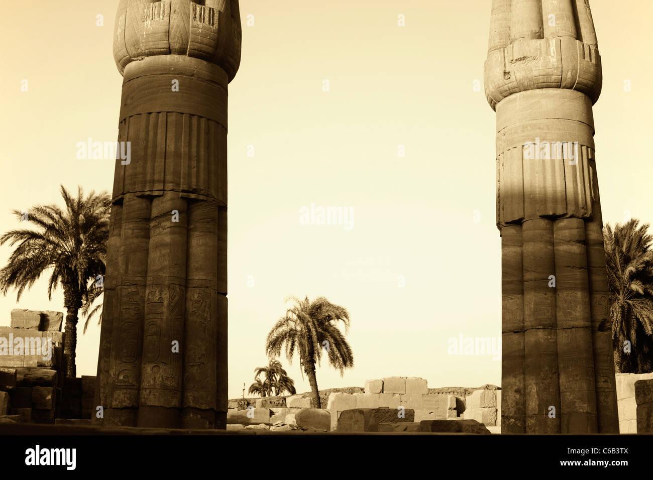 victorian era style image of ancient columns at karnak temple