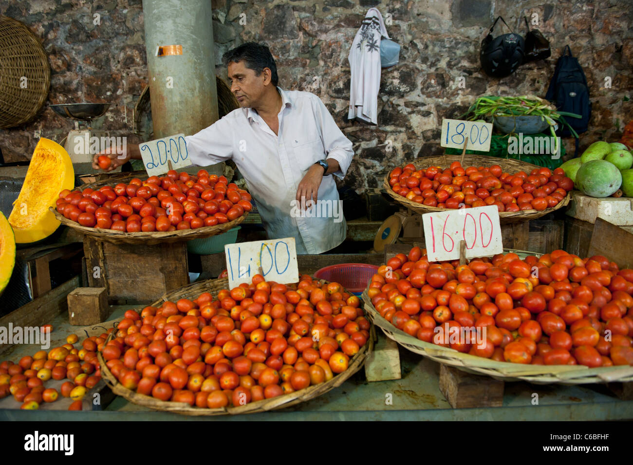 Fruit and vegetable market stall in central market port louis stock photo royalty free image - Mauritius market port louis ...