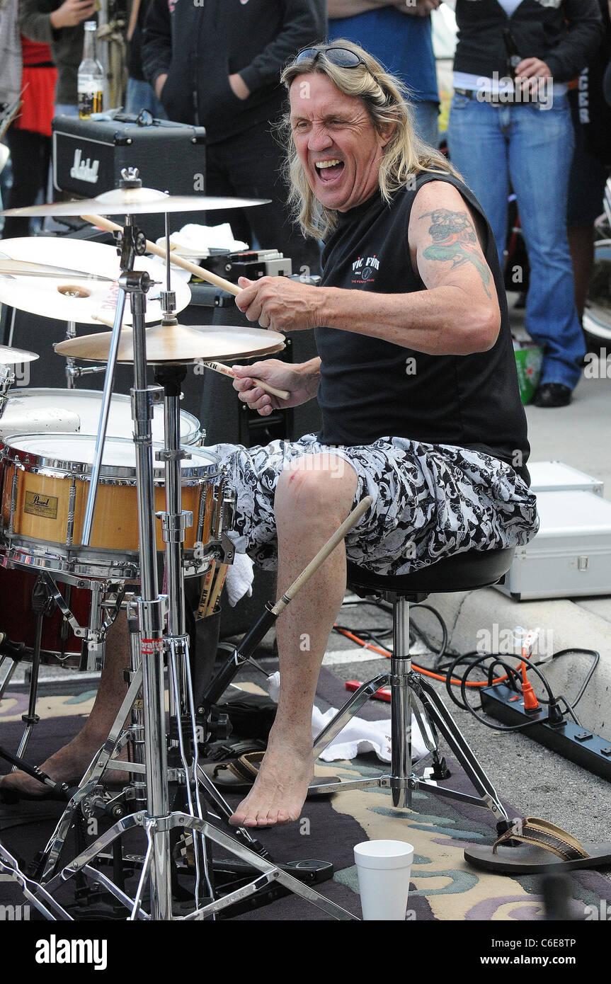 iron maiden drummer nicko mcbrain celebrates the grand