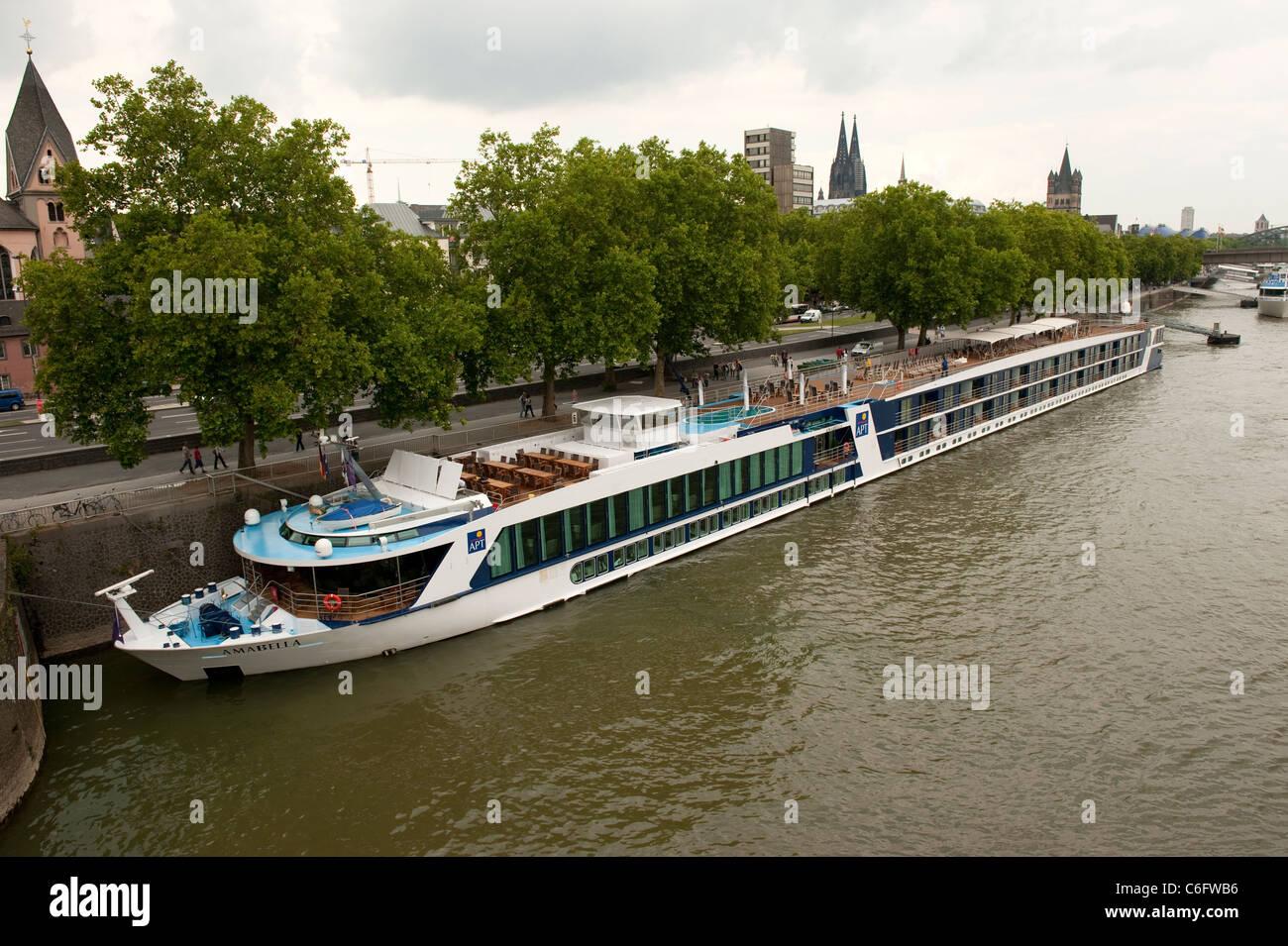 Tourist River Cruise Ship On Rhine Cologne Koln Germany Europe - River cruise ships europe