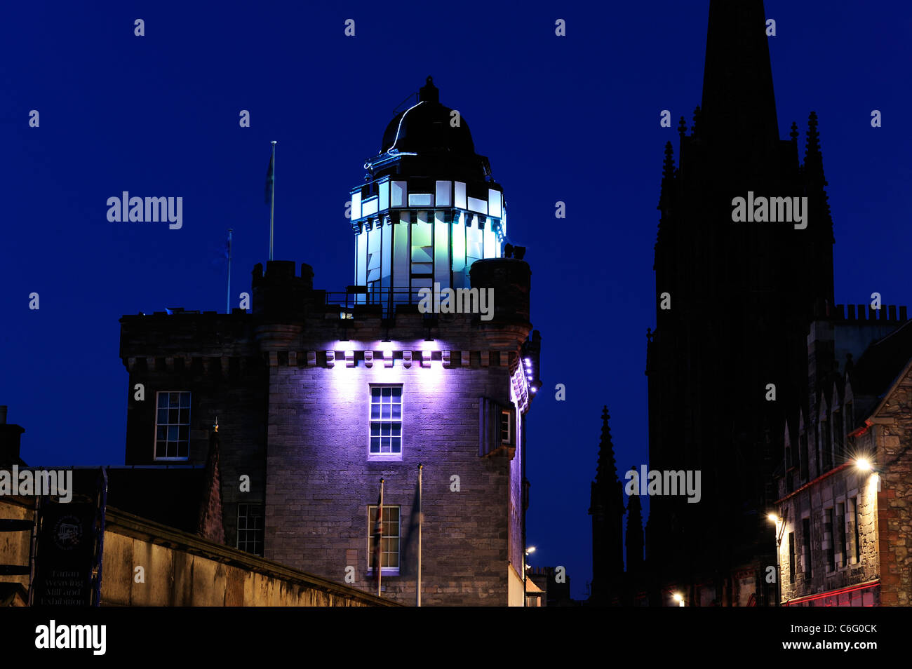 Outlook Tower and Camera Obscura by night on the Royal Mile Edinburgh Scotland & Outlook Tower and Camera Obscura by night on the Royal Mile Stock ...