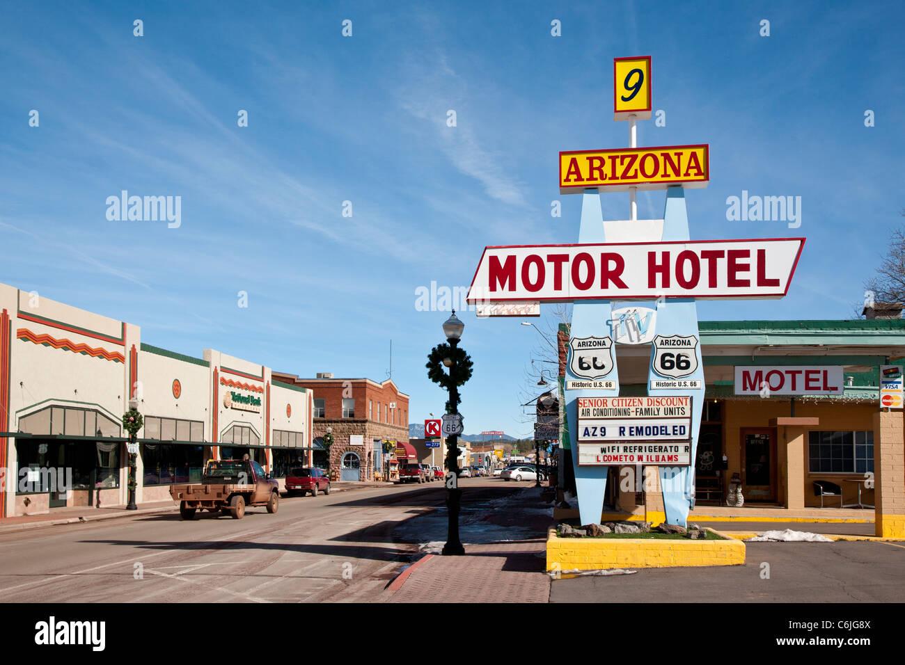 Arizona Motor Hotel Sign On Route 66 Arizona Usa Stock