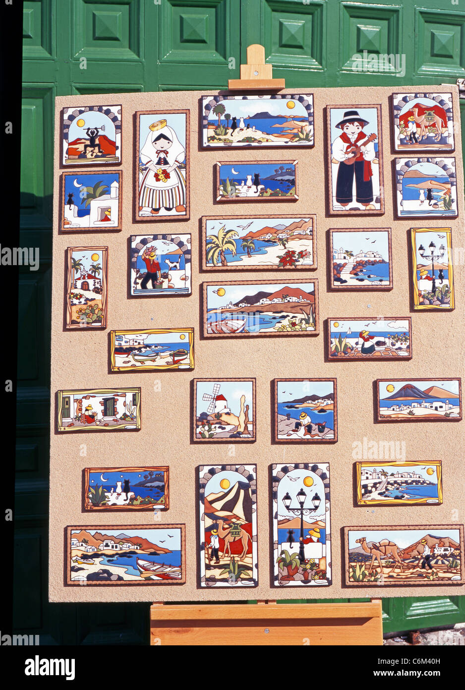 Ceramic tiles for sale outside shop, Teguise, Lanzarote, Canary ...